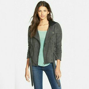 Free People Striped Knit Moto Jacket with Hood
